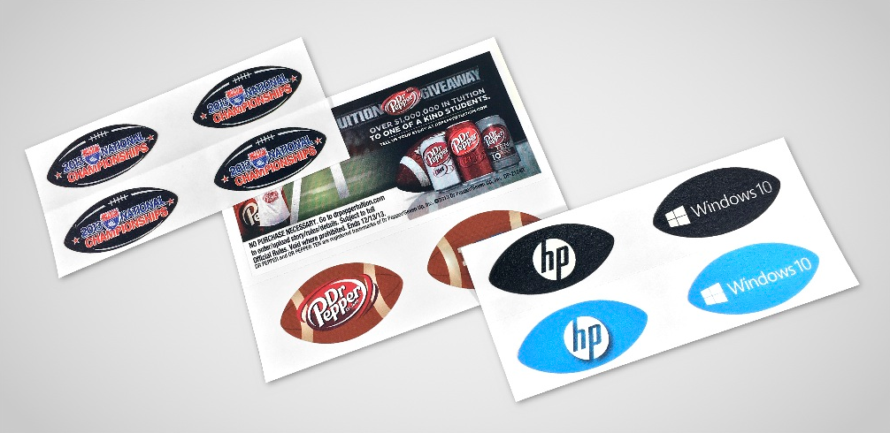 Our football decals use the same material as our eye black these unique promo products are available with a header space as well for additional marketing