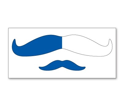 Blue and White Mustache