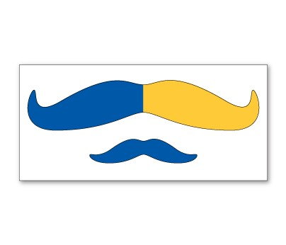 Blue and Yellow Mustache