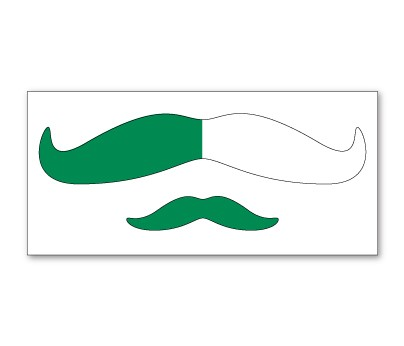 Green and White Mustache