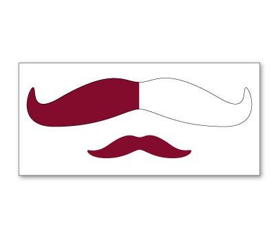 Maroon and White Mustache